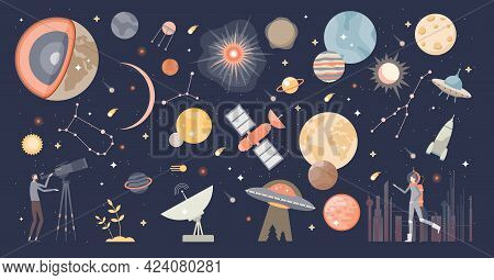 Cosmos Collection Set And Space With Stars And Galaxies Tiny Person Concept. Astronomy And Astrology