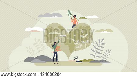 Save The Planet As Earth Protection And Ecology Care Tiny Person Concept. Heart Shaped Planet As Nat