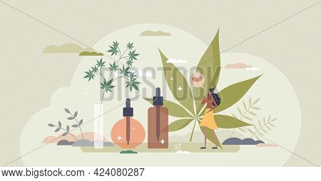 Cbd Oil As Cannabis Or Hemp Seeds Extract For Wellness Tiny Person Concept. Medical Usage And Herbal