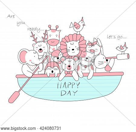 The Cute Baby Animal With Boat. Cartoon Sketch Animal Style