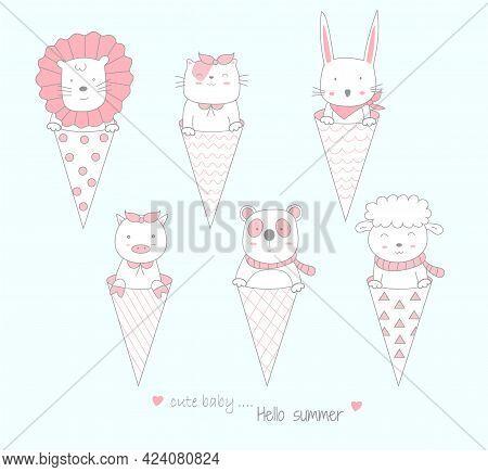 The Cute Baby Animal With Ice Cream. Cartoon Sketch Animal Style