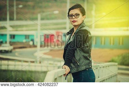 Portrait Of Latin Girl With Glasses, Photo Of Latin Girl With Glasses And Jacket