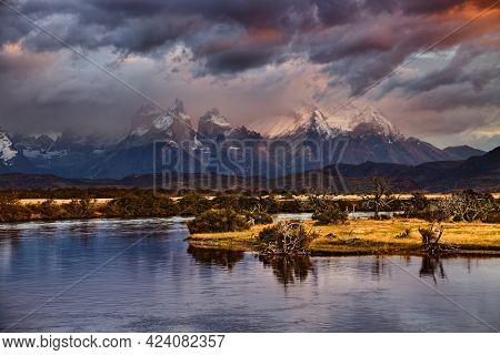Mountain landscape at sunrise, Torres del Paine National Park, Patagonia, Chile