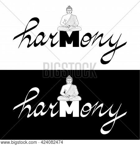 Harmony T Shirt Print With Buddha And Hand Drawn Lettering Set