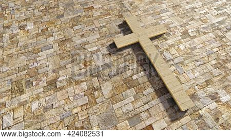 Concept or conceptual travertin stone cross on a vintage pattern limestone background. 3d illustration metaphor for God, Christ, religious, faith, holy, spiritual, Jesus, belief or resurection