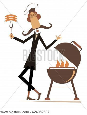 Comic Cook With Long Mustache Prepares Meal On Fire Isolated Illustration. Comic Cook With Long Must
