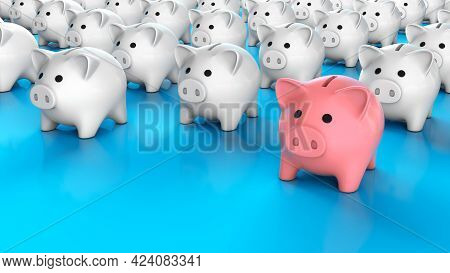 Piggy Bank Leader. A Crowd Of White Piggy Banks And One Pink Piggy Bank. Special Piggy Bank. 3d Rend