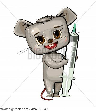 The Child Is Injected With A Syringe. Children's Medicine. Background Cartoon Illustration For Child