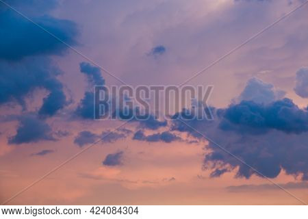 Beautiful Clouds At Sunset Over Foligno City In Umbria, Italy