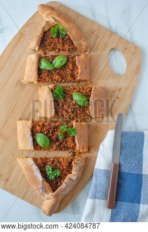 Home Made Traditional Turkish Flatbreads  On A Table