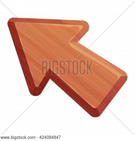 Wooden Arrow Mouse Cursor For Ui Games, Icon Or Decoration In Cartoon Style Isolated On White Backgr