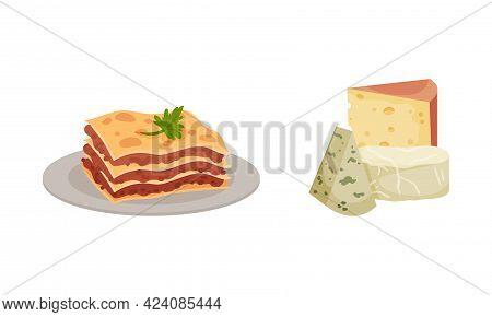Italy Country Symbols With Lasagna Dish And Cheese Slabs Vector Set