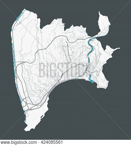 Nice Map. Detailed Map Of Nice City Administrative Area. Cityscape Panorama. Royalty Free Vector Ill