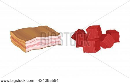 Meat With Lard Or Bacon And Beef Slabs As Foodstuff From Butchery Vector Set