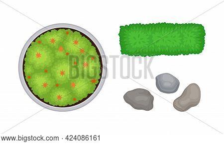 Bush Growth And Pebbles As Landscape Elements Above View Vector Set