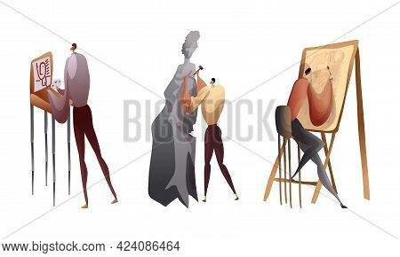 Creative Man Engaged In Handicraft Drawing And Making Sculpture Vector Set