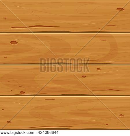 Wood Cartoon Background, Textured Planks In Cartoon Style Isolated. Empty Board, Floor, Hardwood Sur