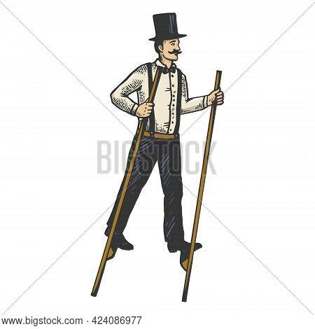 Man On Stilts Line Art Sketch Engraving Vector Illustration. T-shirt Apparel Print Design. Scratch B
