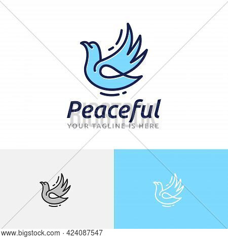 Peaceful Dove Pigeon Flying Wing Peace Love Freedom Logo