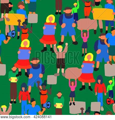 Seamless Vector Pattern With A Crowd Of People Of Different Ages, Races And Nationalities. Man, Wome