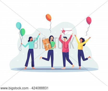 Group Of Joyful People Celebrating Birthday Party