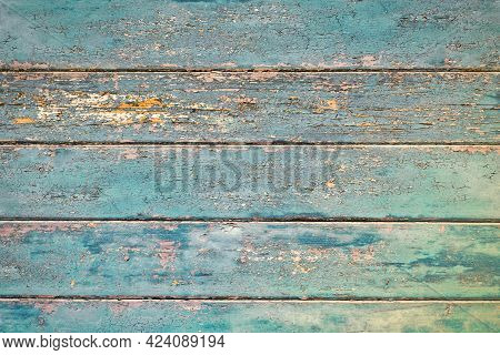 Grunge Background With Wooden Dark Teal Blue Colored Old Weathered Planks With Chipped Paint