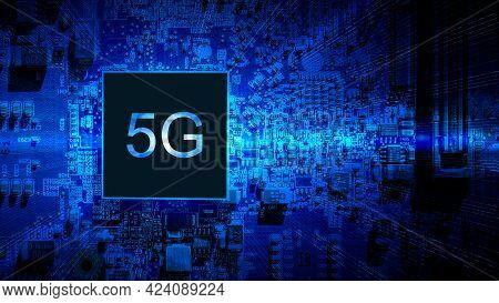 5g Wireless. Digital Computer Motherboard With 5g Mobile Phone Chip On Wireless Network Business Tec
