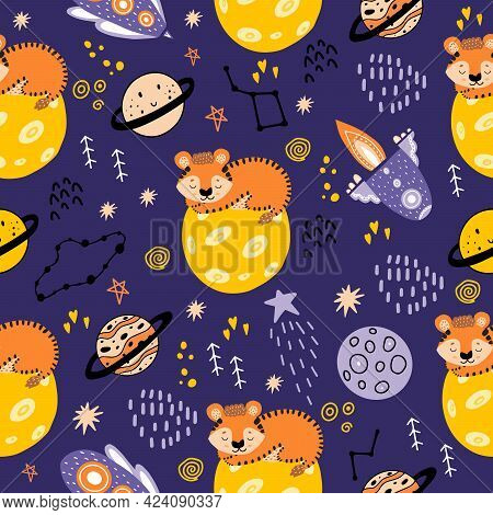 A Tiger In Space Sleeps On The Moon. Seamless Pattern With Planets, Tigers,constellations, Moon, Sta