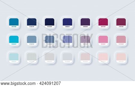 Pastel Colour Palette. Vector. Catalog Samples Purple And Blue In Rgb Hex. Color Catalog. Neumorphic