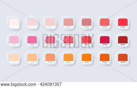 Orange Pastel Colour Palette. Vector. Catalog Samples Orange And Red In Rgb Hex. Color Catalog. Neum