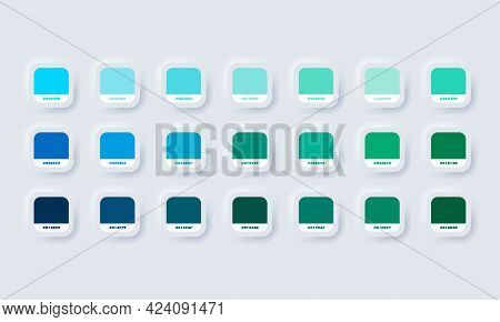 Green And Blue Pastel Colour Palette. Vector. Catalog Samples Green And Blue In Rgb Hex. Color Catal