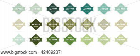 Green Pastel Colour Palette. Vector. Catalog Samples Green In Rgb Hex. Color Catalog. Vector Eps 10.