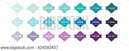 Blue And Purple Pastel Colour Palette. Vector. Catalog Samples Blue And Purple In Rgb Hex. Color Cat