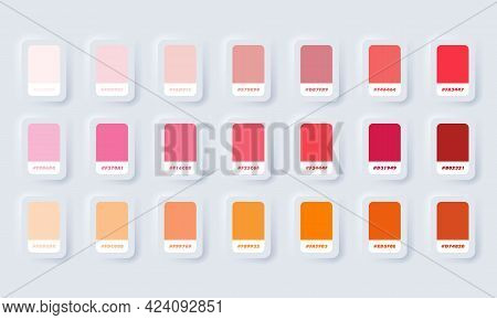 Orange And Red Pastel  Colour Palette. Vector. Catalog Samples Orange And Red In Rgb Hex. Color Cata