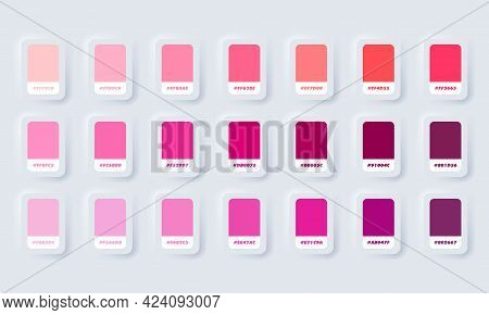 Pink Pastel Colour Palette. Vector. Catalog Samples Pink In Rgb Hex. Color Catalog. Neumorphic Ui Ux