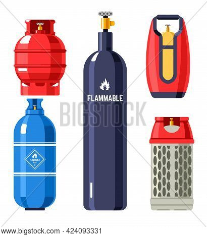 Propane And Butane, Gas And Gasoline In Cylinders