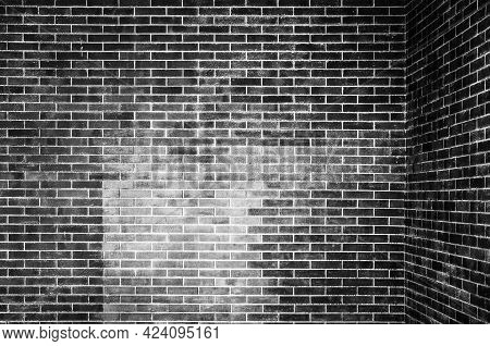 Inside Empty Black Brick Wall In Classic Style For Home And Building Decoration, Brick Wall Texture