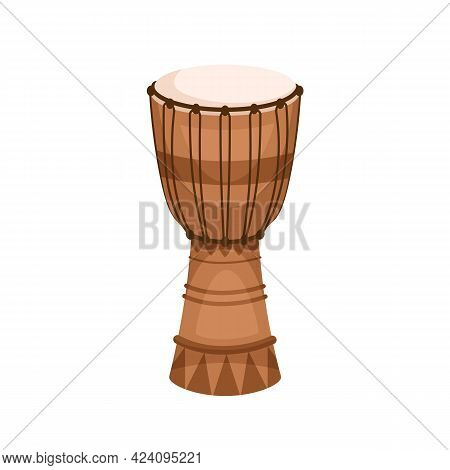 African Djembe From Wood, Skin And Rope. Traditional Folk Goblet Drum Jembe. Ethnic Percussion Music