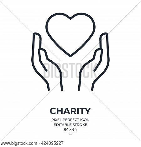 Charity Concept. Hands Holding A Heart Editable Stroke Outline Icon Isolated On White Background Fla
