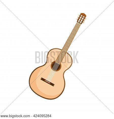 Six-stringed Acoustic Guitar From Wood. Wooden Classic Music Instrument With Hole, Fretboard And Fre