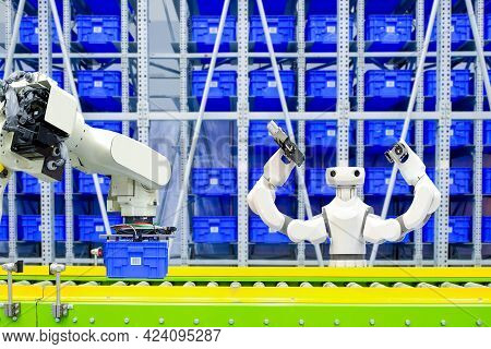 Work Flow On Automation Of Industrial Gripping Robot And Ai Robotic To Transport Blue Plastic Crates