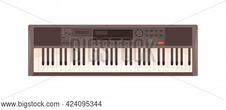 Modern Synthesizer With Keys, Buttons And Display. Synth, Electronic Keyboard Music Instrument. Digi