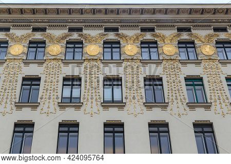 Vienna, Austria - May 22, 2019: These Are The Gilded Madallions On The Facade Of The House With Meda