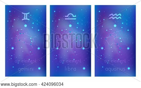 Set Of Three Banners With Signs Of The Zodiac, Astrological Constellations And Geometric Symbol Agai