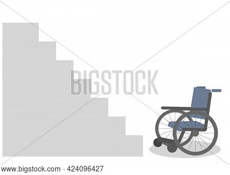 Empty Wheelchair Next To A Steep Flight Of Stairs, Vector Illustration
