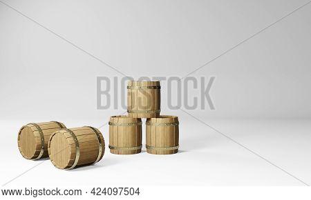 3d Render Of Vintage Wooden Wine And Beer Barrels.digital Illustration For Your Business And Industr