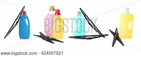 Set With Car Windshield Wipers And Washer Fluids On White Background. Banner Design