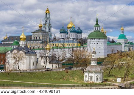 Holy Trinity St. Sergius Lavra On A Cloudy April Day. Sergiev Posad. Moscow Region, Russia
