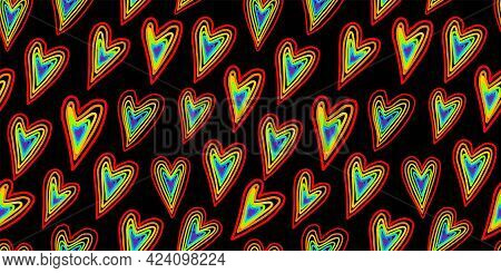 Youth Pattern. Seamless Pattern With Abstract Hearts. Lgbt. Colors Of Rainbow. Pride