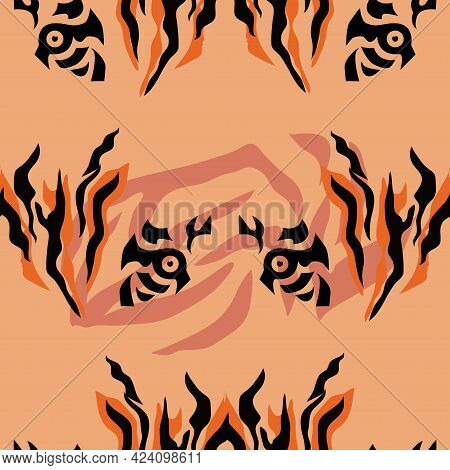 Tiger  Beautiful  Seamless Pattern  In Different Colors In Cartoon Flat Style. Modern Fashion Print